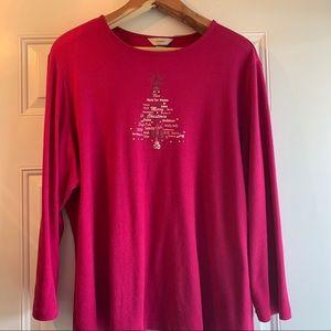CJ Banks Fuchsia Christmas Long Sleeve Top-Size 3X
